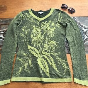 CAbi Sz M V Neck Green Papyrus Floral Sweater: 034